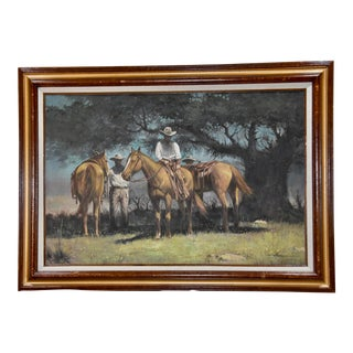 Thomas Morman Original Western Cowboy Horse Riders Oil on Canvas Painting, Framed For Sale