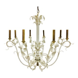 Vintage Mid-Century White Tole & Gold Brass Chandelier For Sale