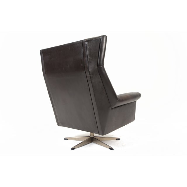 Danish Modern Black Leather Swivel Lounger - Image 6 of 11