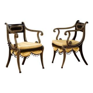 Late 19th Century Regency Ebonized Beech Open Armchairs- a Pair For Sale