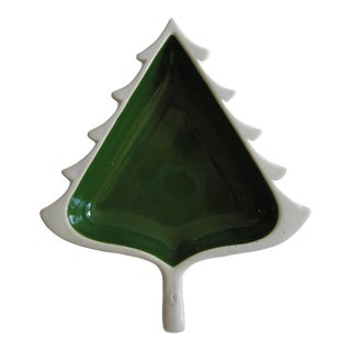Holiday Winter Green Pine Tree Ceramic Candy Dish Container For Sale
