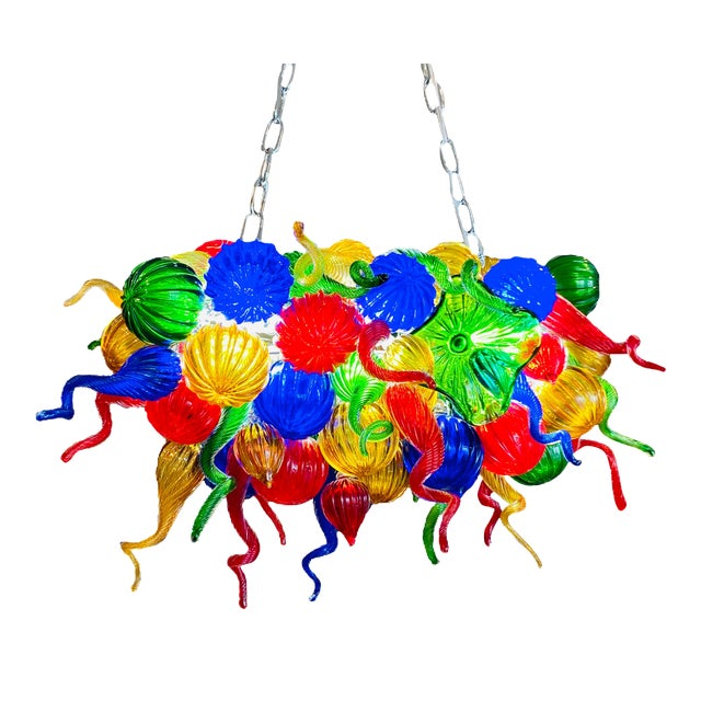 Chihuly Style Hand Blown Murano Glass Chandelier For Sale