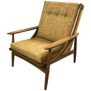 Italian Mid Century Modern High Back Upholstered Lounge Chair For Sale