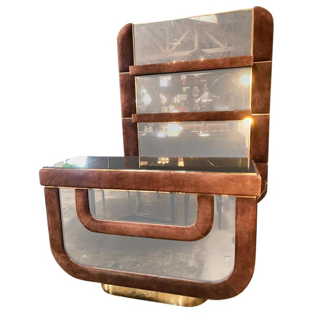 1970s Willy Rizzo Art Deco Flat Dry Bar, Italy For Sale