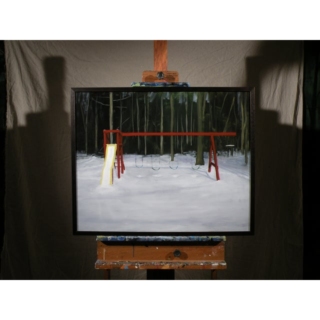 Landscape Painting Children's Swingset in Snow - Image 2 of 5