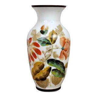 Vintage French White Porcelain Vase With Flower Motifs For Sale