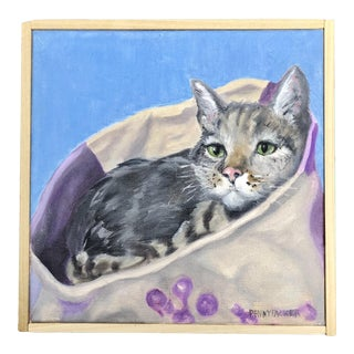 """Cozy Cat"" Small Oil Painting For Sale"