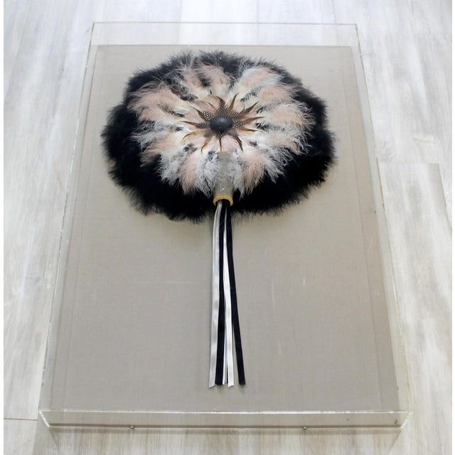 For your consideration is an original, lucite framed, delicate flower sculpture, made of feathers and other materials, by...