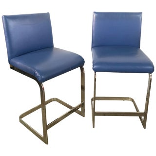 Pair of Milo Baughman Counter Stools in Blue Leather and Flat Bar Chrome For Sale