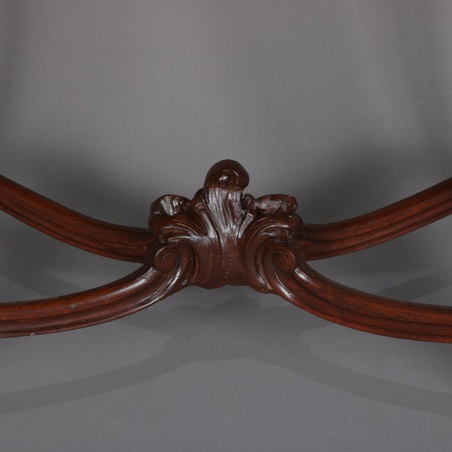 1900 - 1909 Antique French Louis XV Style Carved Walnut and Marble Center Table, Circa 1900 For Sale - Image 5 of 13