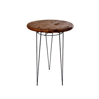 Mid-Century Modern Metal Hairpin & Wood Plant Stand / Table For Sale