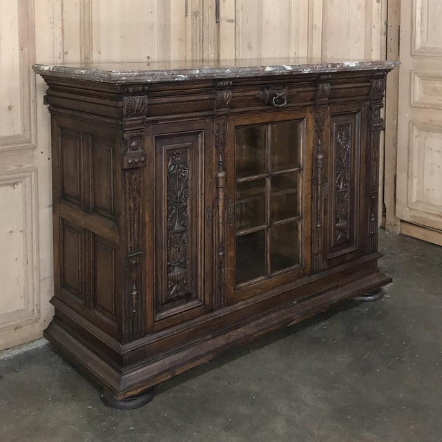 Pair 19th Century French Louis XIV Marble Top Display Buffets For Sale - Image 4 of 13