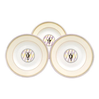 Set of 12 Ginori Lavender Rimmed Soup Bowls By Gio Ponti For Sale