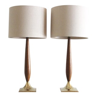 Mid-Century Walnut & Brass Table Lamps - A Pair