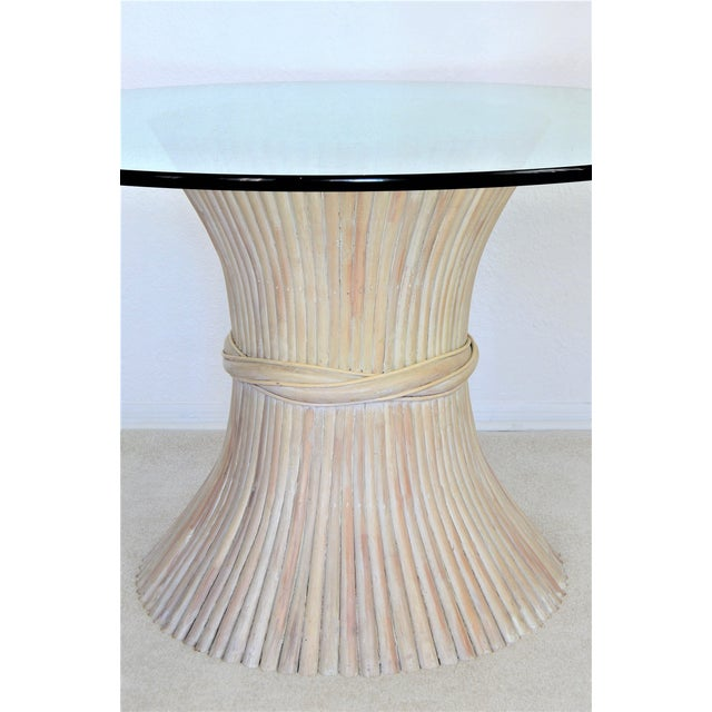 McGuire McGuire Wheat Sheaf Bamboo Rattan Dining Table With Thick Round Glass Top Organic Mid Century Modern MCM Millennial For Sale - Image 4 of 11