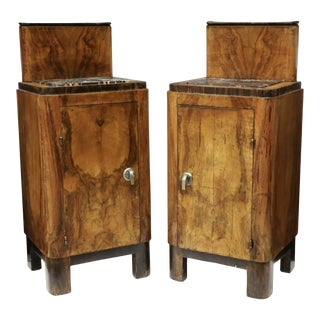 French Art Deco Wood and Marble Nightstands - a Pair For Sale