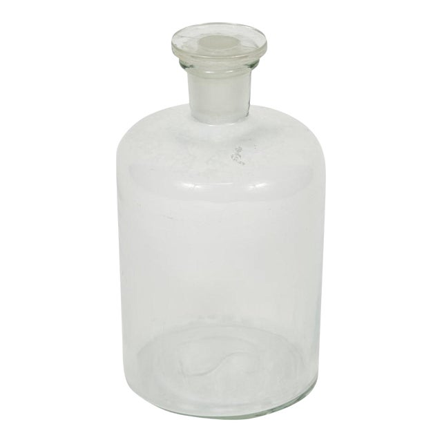 1940s English Glass Bottle with Stopper For Sale