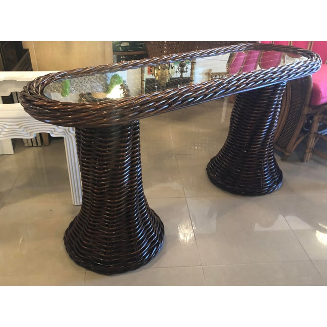 Vintage Double Pedestal Braided Wicker Console Table For Sale - Image 9 of 13