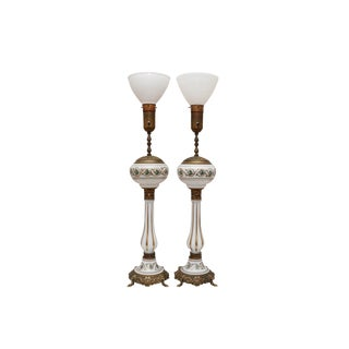 Monumental Glass & Brass Uplighter Table Lamps - a Pair For Sale