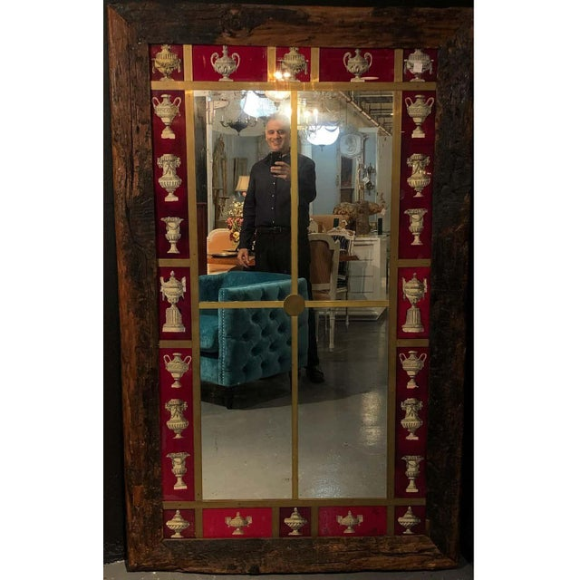 Rustic Italian Wall Mirror With Reverse Painted Classical Vases and Urns For Sale - Image 4 of 13