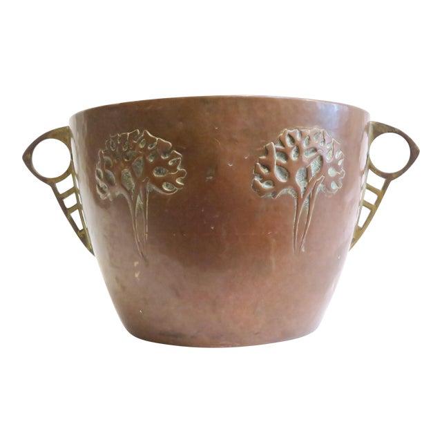 Vintage Hammered Copper Planter For Sale