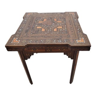 Late 19th Century Middle Eastern / Moroccan Inlaid Backgammon Game Table For Sale