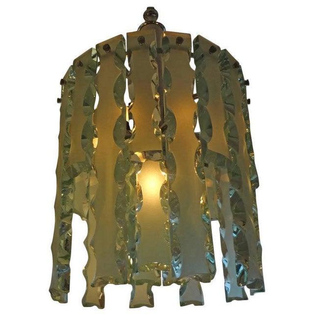 Mid-Century Modern 1960's Italian Zero Quattro -Fontana Arte Frosted Glass Lantern or Chandelier For Sale - Image 3 of 12
