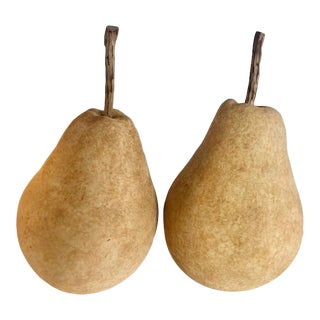 Tuscan Ceramic Hand Painted Pears - a Pair For Sale