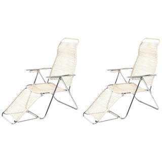 "Vintage French Adjustable ""Chaises Longues"" - A Pair For Sale"