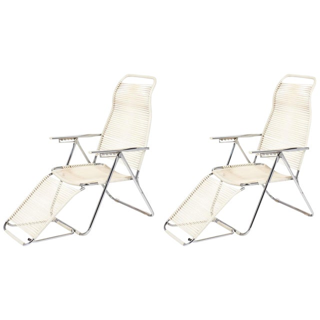 "Vintage French Adjustable ""Chaises Longues"" - A Pair - Image 1 of 10"