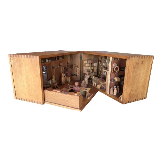 Hand Carved Wood With Marquetry General Store Model Diorama For Sale