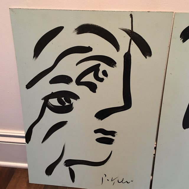 Abstract Peter Keil Cubist Profile Abstract Paintings - a Pair For Sale - Image 3 of 12