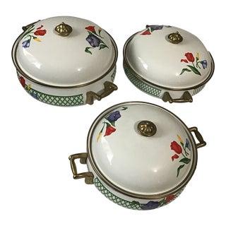19th Century Flower Enamel Cookware Serving Pot Pans With Lid & Brass Handles - 3 Pieces For Sale