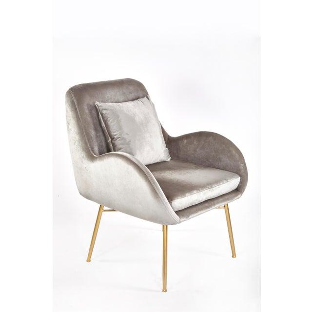 2010s New Modern Gray Velvet Accent Chair For Sale - Image 5 of 5