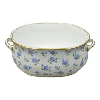 "Antique 20"" English a.b. Daniell and Son Blue Flower Porcelain Foot Bath Basin For Sale"