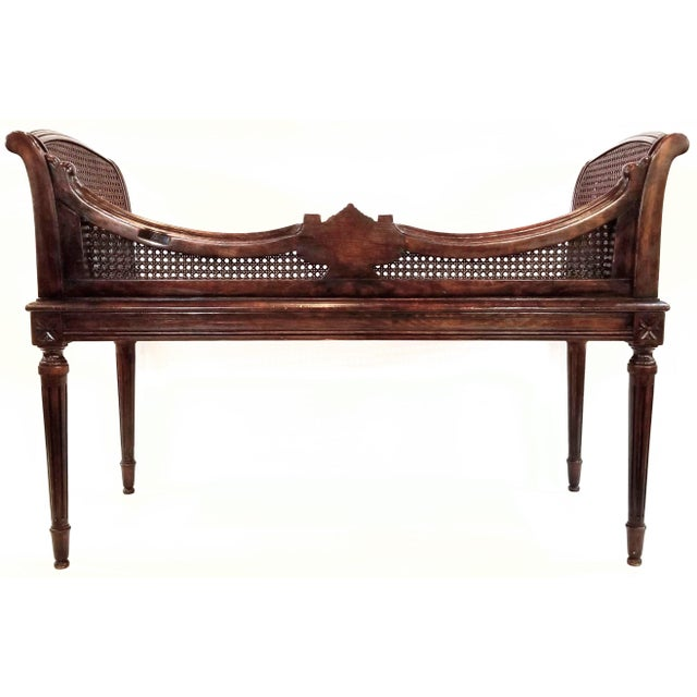 French Antique Carved and Caned Window Settee With Neoclassic Motifs For Sale - Image 3 of 10