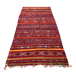1980s Handwoven Moroccan Kilim Rug- 4′11″ × 11′5″ For Sale