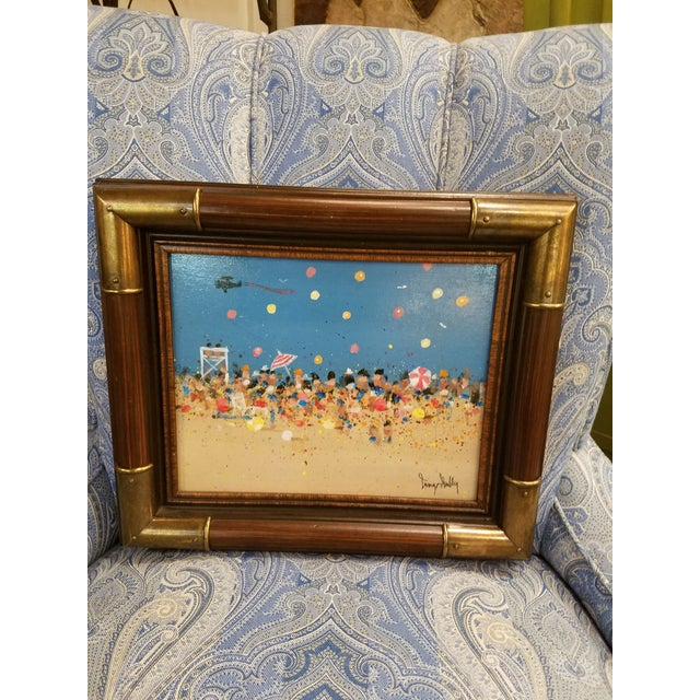 Charming and colorful little painting on board in a bamboo frame with bamboo brass corners. Beach scene by Philadelphia...