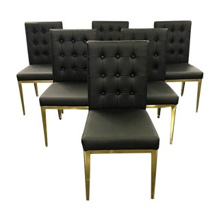 Contemporary Brass and Black Leather Dining Chairs - Set of 6 For Sale