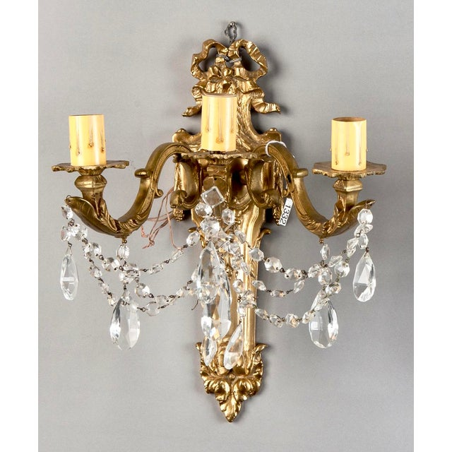 Art Nouveau French Brass & Crystal Acanthus Rococo Style Three Arm Sconces - Pair For Sale - Image 3 of 7