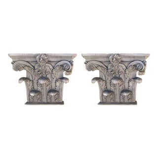 1900s Traditional Terra Cotta Corinthian Order Capitals - a Pair For Sale