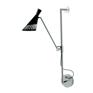 Metro Satin Black and Polished Chrome Single Cone Head Wall Light For Sale