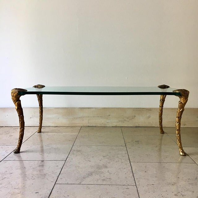 A French Gilded Cast Iron and Glass Coffee Table 1970s For Sale - Image 6 of 6
