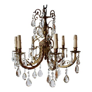 Antique French Empire Six Arm Doré-Bronze and Crystal Chandelier For Sale