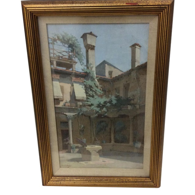 """""""Courtyard in Florence"""" by George Scott Ingles - Image 1 of 8"""