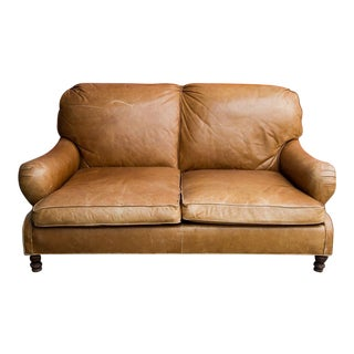 1990s Vintage Ralph Lauren Tan Leather Loveseat Sofa For Sale