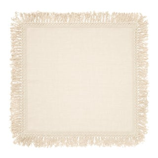 Once Milano Linen Napkin With Long Fringes in Cream For Sale