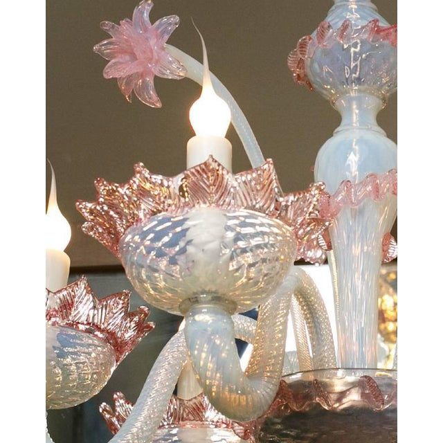Italian Pink and White Murano Blown Glass Chandelier with Flowers, Circa 1940 For Sale - Image 3 of 5