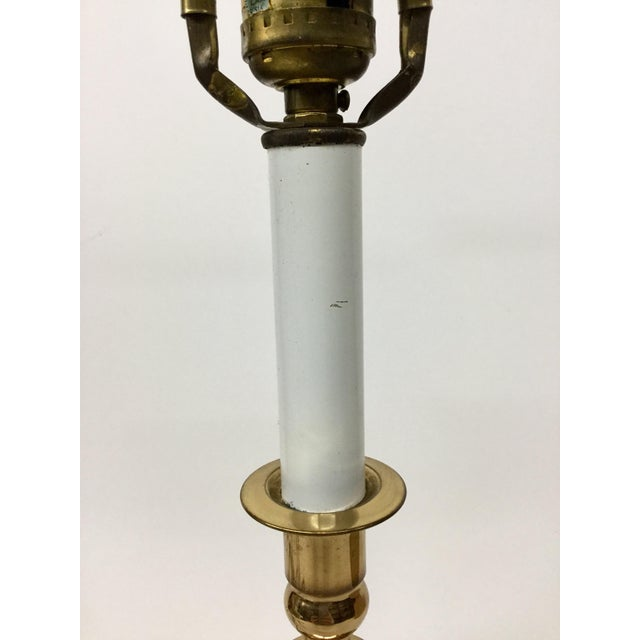 Vintage Baldwin Solid Brass Candlestick Table Lamp For Sale - Image 11 of 13