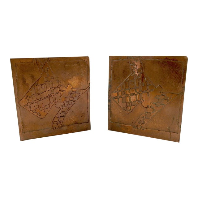 1930s Abstract Hand Made Scotty Dog Etched Copper Bookends - a Pair For Sale